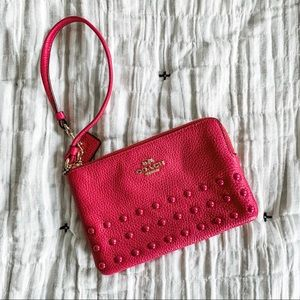 Studded Leather Coach Wristlet NWOT